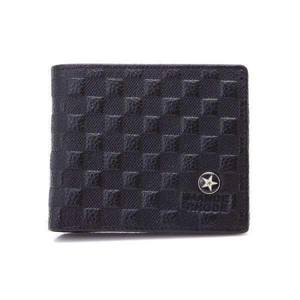 MANDERHODE - 美式潮流牛皮格紋設計短夾【86341-B】
