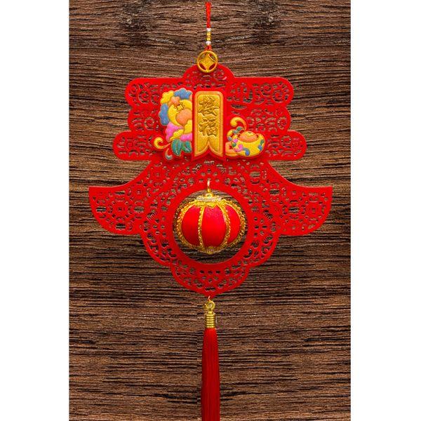 紅絨春字造型+立體小燈籠吊掛飾 家居風水辦公室裝飾  勝億開運招財飾品批發零售
