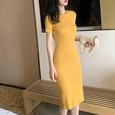 針織裙 夏季法式修身裙子女2020氣質冰絲針織顯瘦a字圓領包臀洋裝女