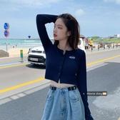 夏季新款韓版復古長袖針織衫開衫外套修身短款露臍T恤女BM風上衣