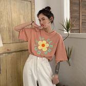 夏季ins風韓版可愛小花朵字母印花短袖T恤bf圓領寬鬆情侶上衣女 韓流時裳