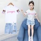 女童夏季套裝2019新款韓版兒童洋氣時髦兩件套小女孩牛仔短褲夏裝 嬌糖小屋