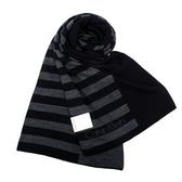 CalvinKlein 新款CK橫紋保暖圍巾(黑色)103210