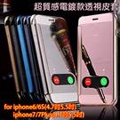 蘋果 iPhone 6s 7 8 PLUS i7+ 4.7吋/5.5吋 5S SE 玫瑰金 電鍍鏡面皮套 視窗皮套 半透明鏡子 手機保護殻