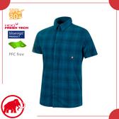 【MAMMUT 長毛象 男 Trovat Trail 短袖襯衫《波賽頓藍》】1015-00071/透氣快乾/夏季襯衫/防紫外線