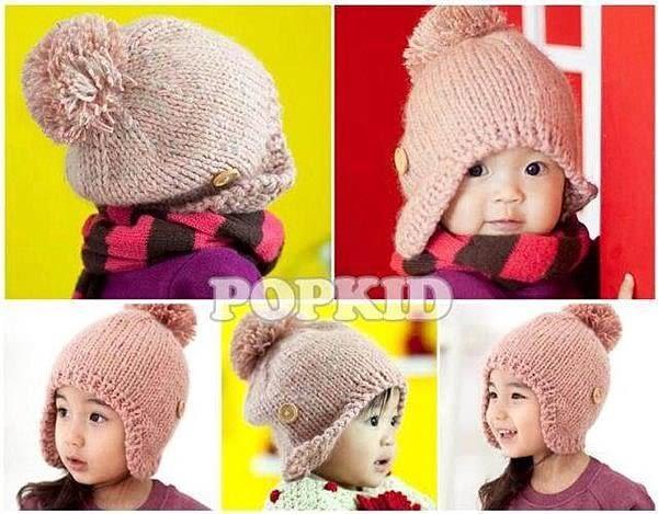 【發現。好貨】韓國簡約鈕扣兒童針織帽 護耳針織帽 毛絨帽 保暖帽 韓國代購