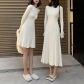 長款毛衣裙女秋冬裝2021新款長袖打底裙子收腰顯瘦港風針織洋裝 【年貨大集Sale】