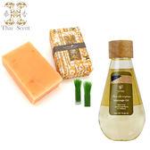 ThaiScent泰香 檸檬草身體清潔保養組(按摩油1入+山羊奶手工皂3入)
