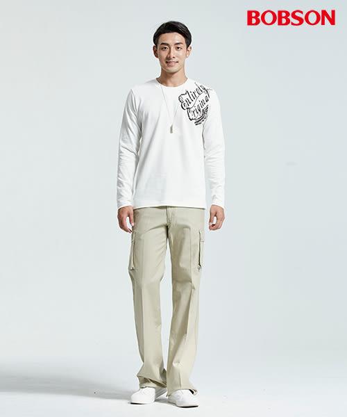 BOBSON 男款圓領彈性印圖白色上衣(35044-80)