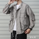 大碼 夏季超薄款男士防曬服透氣寬鬆港風工裝夾克外套韓版潮流帥氣上衣 qz6347【野之旅】