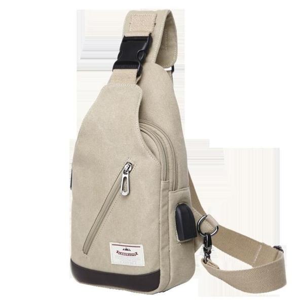 胸包男士背包新款男包休閒腰包斜背包帆布手機包小包單肩包男  雙十二全館免運