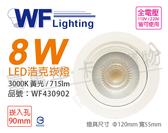 舞光 LED 8W 3000K 黃光 36度 9cm 全電壓 白殼 可調角度 浩克崁燈_ WF430902