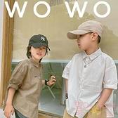 韓版蝙蝠袖兒童時尚短袖襯衫男童襯衣寬鬆【聚可愛】