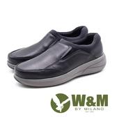 W&M 直套式增高厚底男皮鞋-黑(另有卡其)
