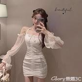 緊身洋裝 掛脖吊帶白色連身裙女早秋性感緊身包臀短裙2021新款長袖氣質裙子【99免運】