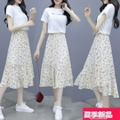 兩件式洋裝 時尚套裝2021夏季新款女短袖T恤 中長雪紡連身裙碎花半身裙兩件套 新品