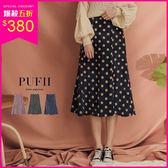 (現貨)PUFII-中長裙 點點鬆緊高腰傘擺燈芯絨中長裙 3色-1025 現+預 秋【CP15426】