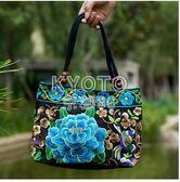手提包 中老年女包民族風繡花包包刺繡帆布小包中年女士手提包 京都3C