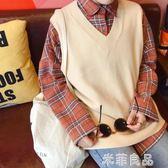 學院風馬甲毛衣背心女韓版寬鬆學生bf無袖針織衫V領外套  『米菲良品』