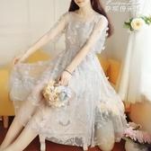 洋裝很仙女洋裝夏季新款流行超仙氣森繫學生溫柔長裙子 麥琪精品屋