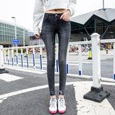 牛仔褲 實拍5588#韓版新款破洞牛仔褲女彈力高腰小腳黑色顯瘦九分鉛筆褲(F3001) 胖胖唯依
