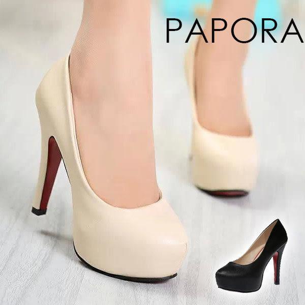 PAPORA紅底厚底高跟鞋【KN766】黑色/米色