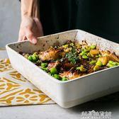 創意餐具長方形盤子菜盤魚盤陶瓷烤盤大盤子托盤家用湯盤餐盤  解憂雜貨鋪