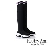 ★2018秋冬★Keeley Ann率性街頭~休閒透氣彈性布過膝長靴(黑色) -Ann系列