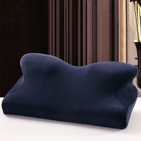 韓國熱銷 全方位4D蝶形枕 護頸舒適蝶型記憶枕/止鼾枕-藏青色