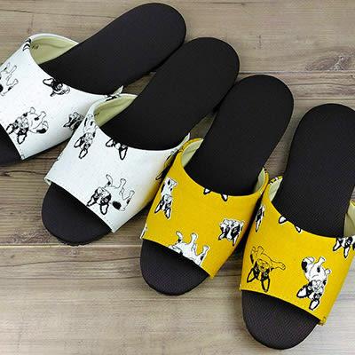 動物派對親子室內拖鞋 法鬥款-黃|室內拖鞋 室內拖 拖鞋 止滑拖鞋 防滑拖鞋【mocodo 魔法豆】