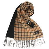 DAKS經典格紋羊毛圍巾(駝色/黑色)239326-1