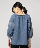 「Hot item」刺繡綁帶牛仔襯衫上衣 - Sm2 BLUE