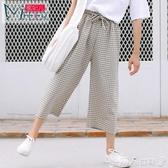 七分褲蜜妃兒褲子女夏2020新款韓版寬鬆奶奶褲學生格子七分褲高腰闊腿褲 限時熱賣