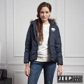 【JEEP】女裝 修身百搭連帽羽絨外套 (海軍藍)