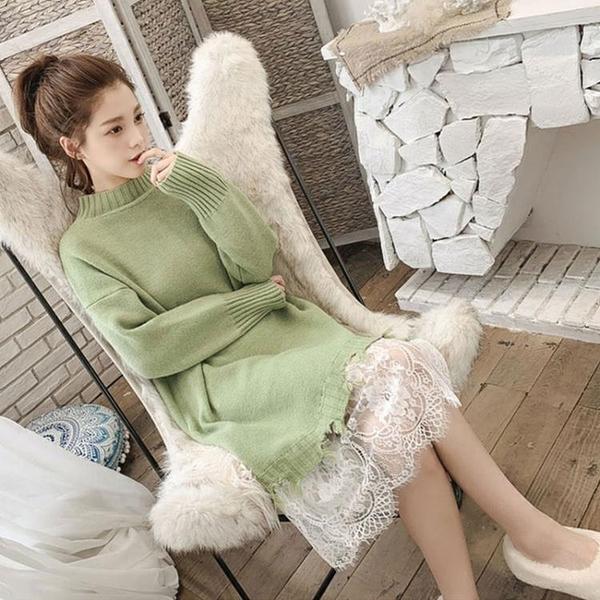 針織打底洋裝女秋冬新款女裝潮蕾絲拜年裙子新品流行毛衣裙 伊衫風尚