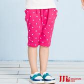 JJLKIDS 女童 素色點點純棉五分休閒褲(玫紅)