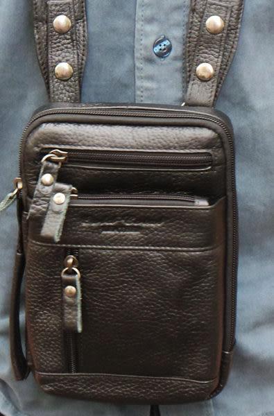 真皮手機腰包-荔枝紋日式單肩斜包 手提包 掛包5~7吋 電腦包 手機袋 斜背包 側背包 收納包(黑色)