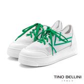 Tino Bellini活力耀眼透膚厚底綁帶休閒鞋_綠  FS9001