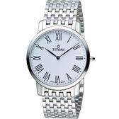 TITONI 梅花錶超薄紳士石英錶 TQ52918S-584 銀