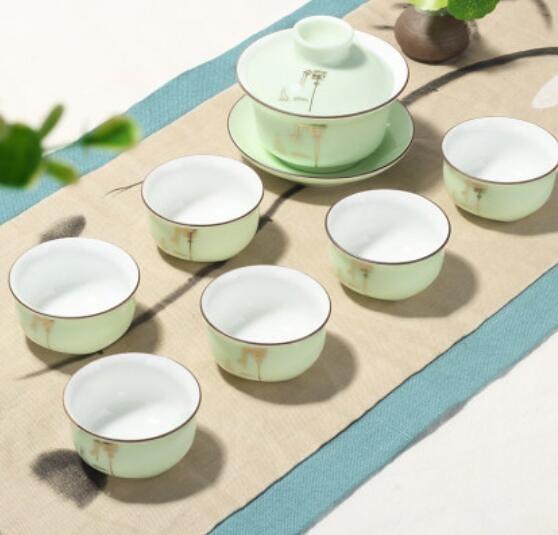 茶具 陶瓷青瓷功夫茶具套裝家用簡約泡茶杯茶壺景德鎮茶藝客廳【快速出貨八折搶購】