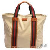 【GUCCI 古馳】253511 綠紅綠織帶牛皮飾邊大型購務物/托特肩背包-附萬用包(杏色)