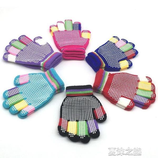 兒童滑雪手套 新款學生戶外運動滑雪防滑圓點顆粒膠印手套兒童針織手套批 快速出貨