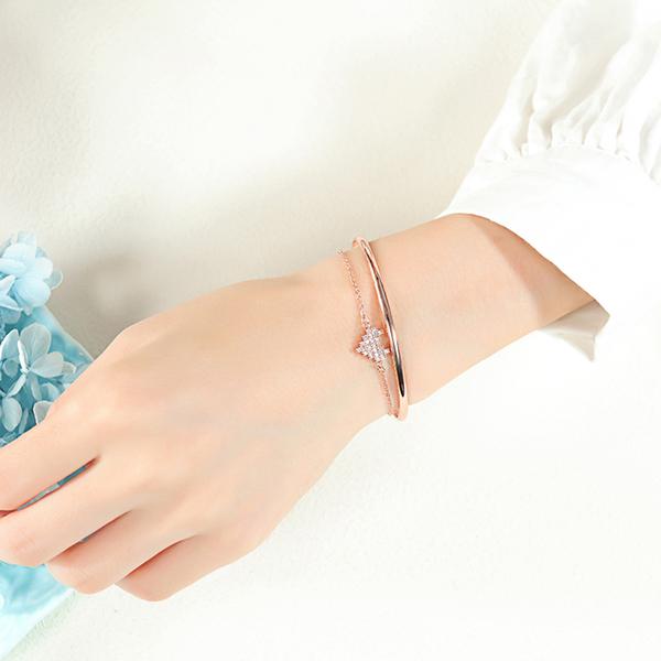 Z.MO鈦鋼屋 銅鍍金手環 水鑽手環 簡約鑲鑽愛心C型手環 閨蜜首飾 戀人禮物 單個價【CKA549】