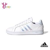 adidas板鞋 女鞋 GRAND COURT 休閒運動鞋 舒適鞋墊 皮革 休閒鞋 復古 T9343#白色◆OSOME奧森鞋業