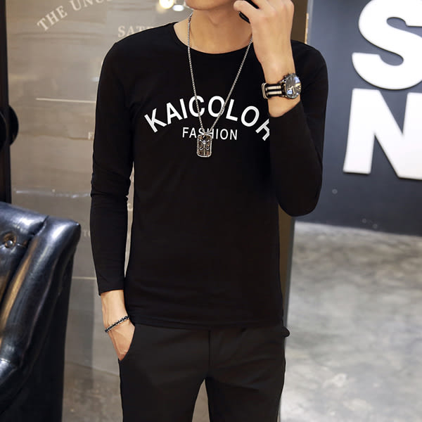 男T恤 男短t恤 韓版T恤 印花字母長袖T恤男裝 圓領上衣修身打底衫【非凡上品】cx590