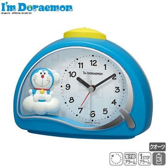 〔小禮堂〕哆啦A夢 半圓型鬧鐘《藍.雲朵上》時鐘.桌鐘 4903456-21532