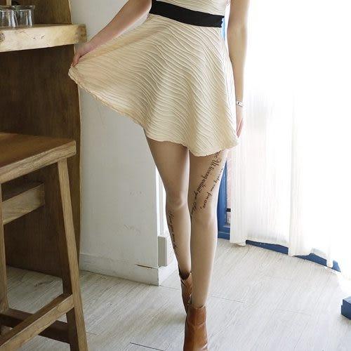 【台灣製造】流行女襪-個性圖騰艋舺刺青褲襪絲襪-草寫英文【3202-23】雙腳單面印花
