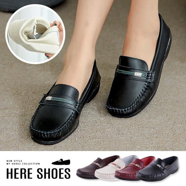 [Here Shoes]莫卡辛-MIT台灣製 舒適真皮鑲鑽造型設計 懶人鞋 莫卡辛休閒鞋 小白鞋 -KN997