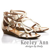 ★2018春夏★Keeley Ann西部牛仔~羅馬纏繞金屬飾全真皮楔形涼鞋(米色)