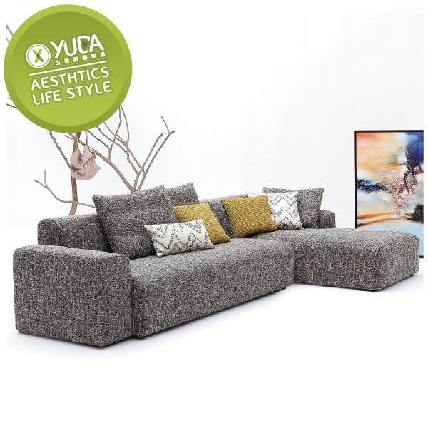 沙發【YUDA】墨爾 面右 L型沙發 布沙發 J9S 483-2